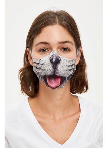 DeFacto Kedi Baskılı Yıkanabilir Maske Gri